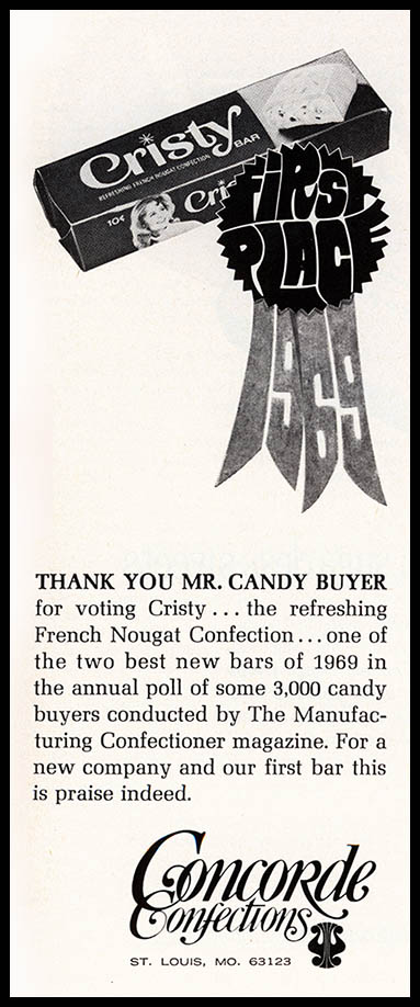 Concorde Confections - Cristy Bar - First Place - candy trade magazine ad - April 1970