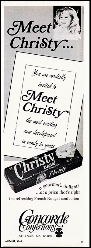 Concorde Confections - Cristy Bar - Meet Christy - candy trade magazine ad - August 1969