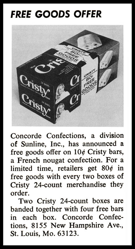 Concorde Cristy Bar - 80-cent free goods offer - trade clipping - May 1972