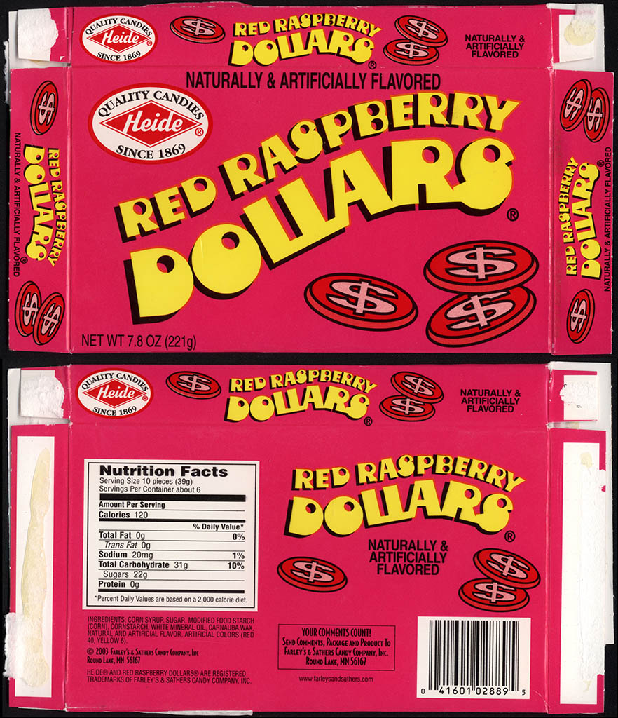 Farleys & Sathers - Heide Red Raspberry Dollars - candy box - 2010