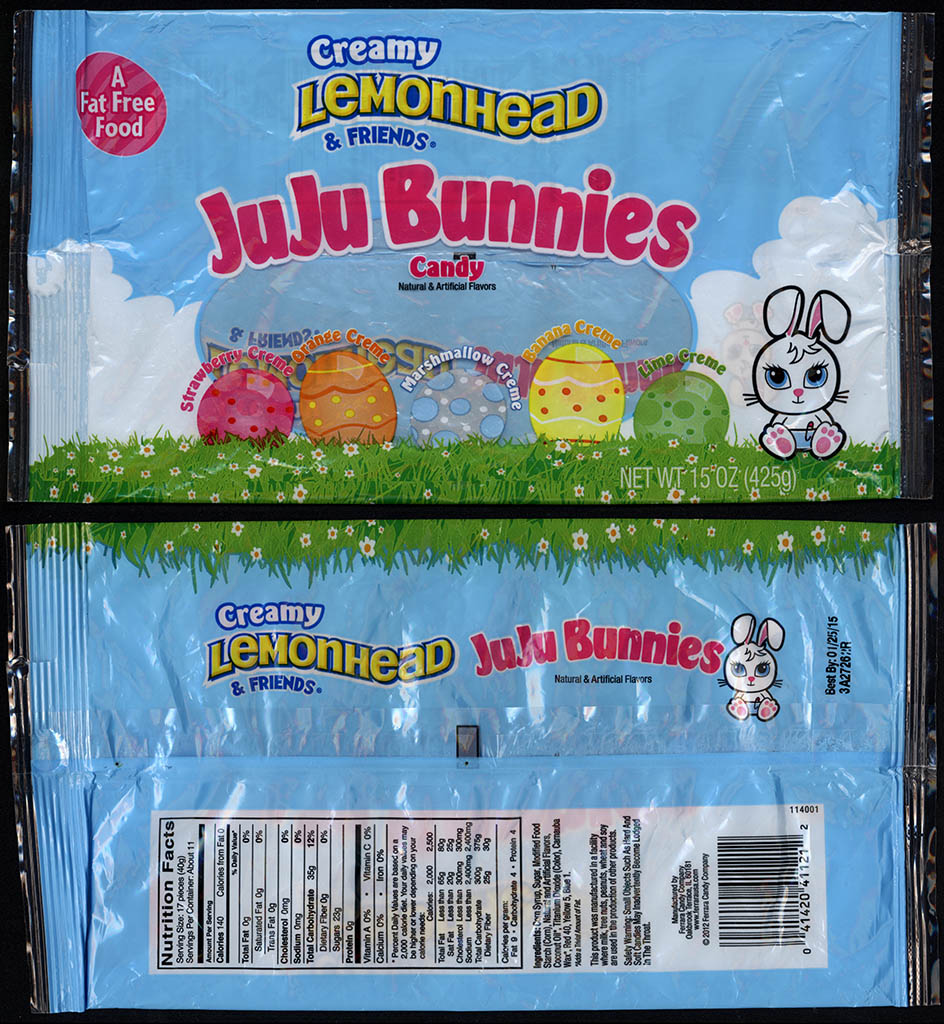 Ferrara Pan - Creamy Lemonhead & Friends JuJu Bunnies candy - 15oz Easter candy package - 2013
