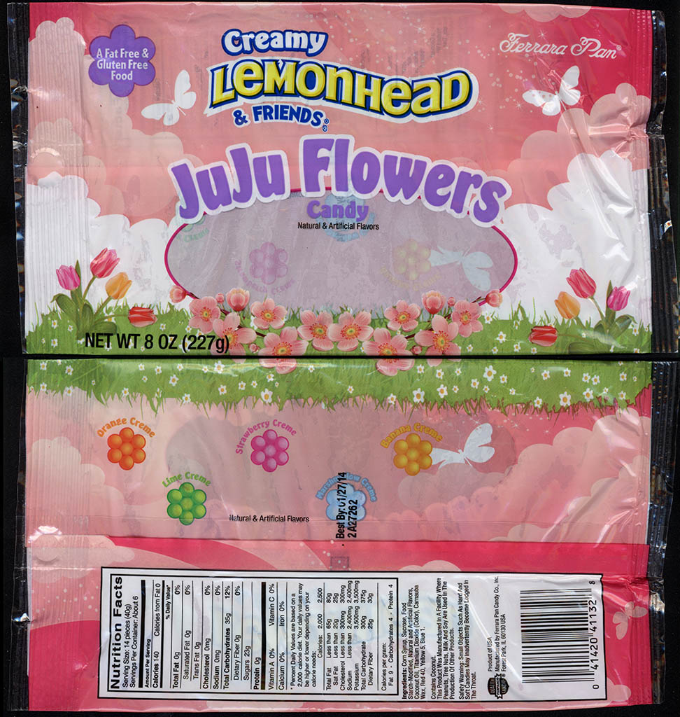 Ferrara Pan - Creamy Lemonhead & Friends JuJu Flowers - 8oz Springtime-Easter candy package - 2012