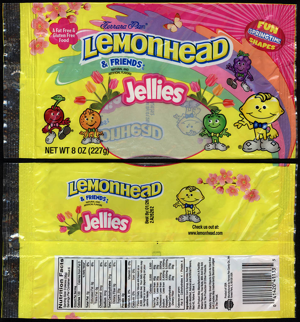 Ferrara Pan - Lemonhead & Friends Jellies - 8oz Springtime-Easter candy package - 2012