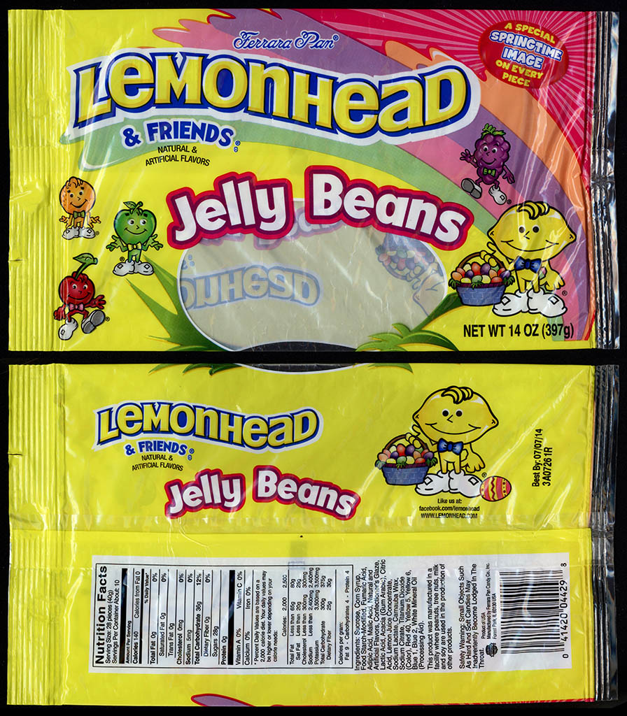 Ferrara Pan - Lemonhead & Friends Jelly Beans - 14oz Easter Springtime candy package - 2013