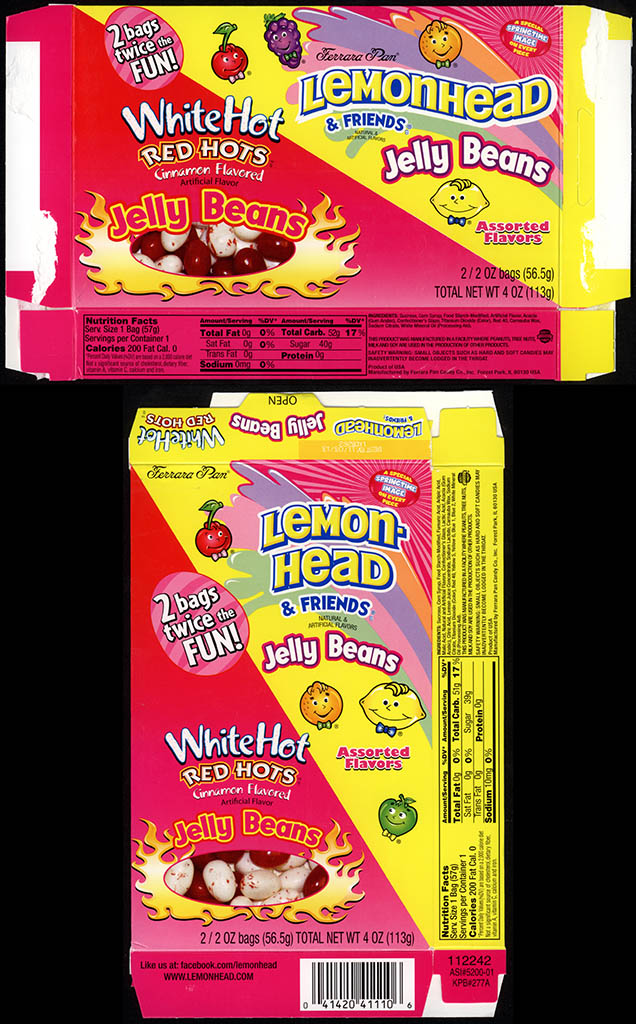 Ferrara Pan - White Hot Red Hots Jelly Beans & Lemonhead & Friends Jelly Beans - Easter two-bag candy box - Easter 2012