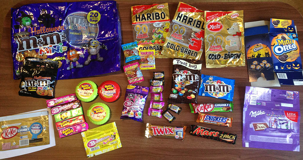 Germany candy care package - all laid out.