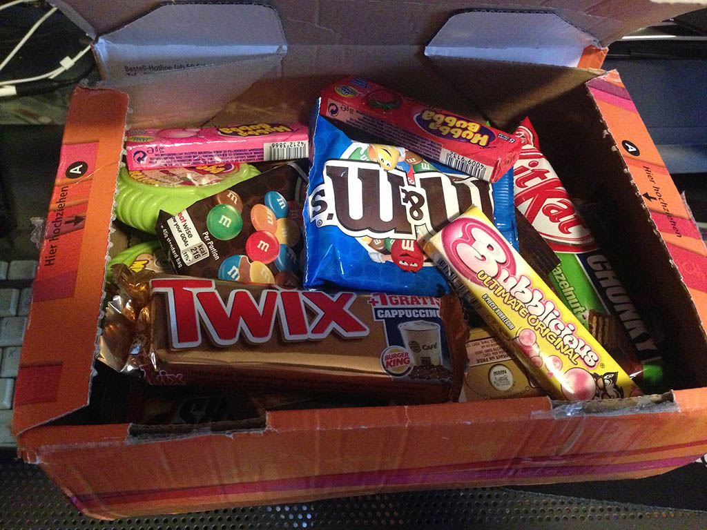 Germany candy care package - opening the box