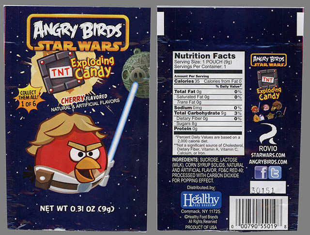 Healthy Food Brands - Angry Birds Star Wars Exploding Candy - 1 of 6 - Luke bird - candy package - February 2013