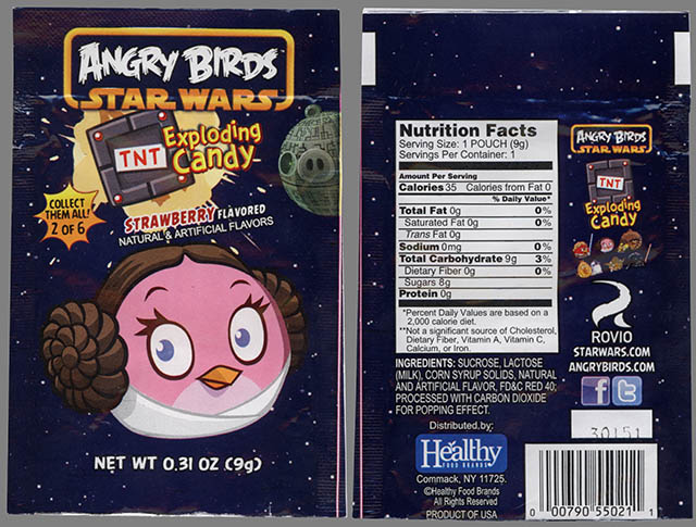 Angry Birds Star Wars Exploding Candy - 2 of 6 - Leia bird - candy package - February 2013