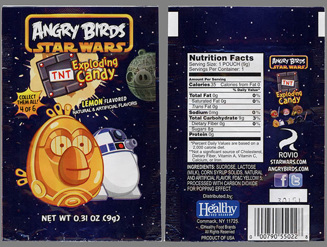 Angry Birds Star Wars Exploding Candy - 4 of 6 - C3PO & R2D2 bird - candy package - February 2013