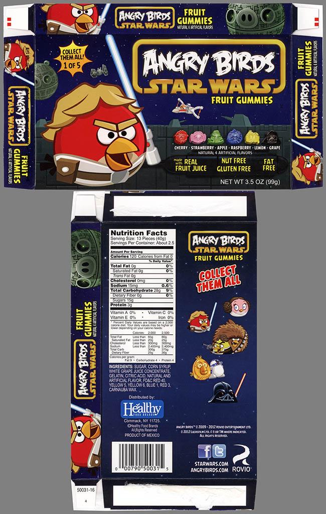 Healthy Food Brands - Angry Birds Star Wars Fruit Gummies - 1 of 5 Luke Skywalker Bird - candy box - 2013