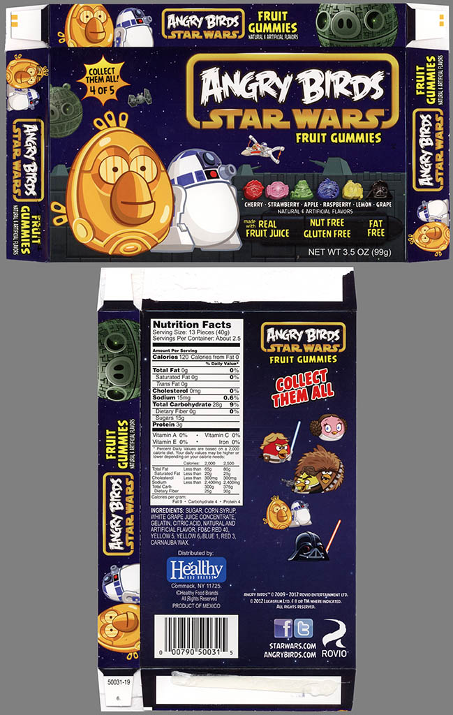 Healthy Food Brands - Angry Birds Star Wars Fruit Gummies - 4 of 5 C3PO & R2-D2 Birds - candy - 2013