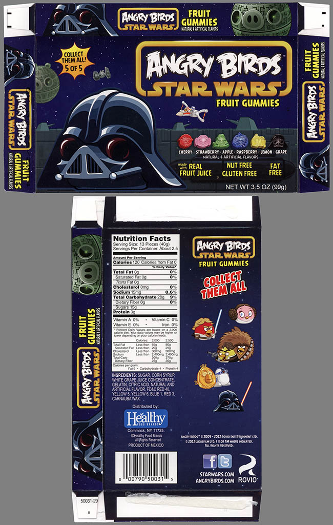 Healthy Food Brands - Angry Birds Star Wars Fruit Gummies - 5 of 5 Darth Pig - candy - 2013