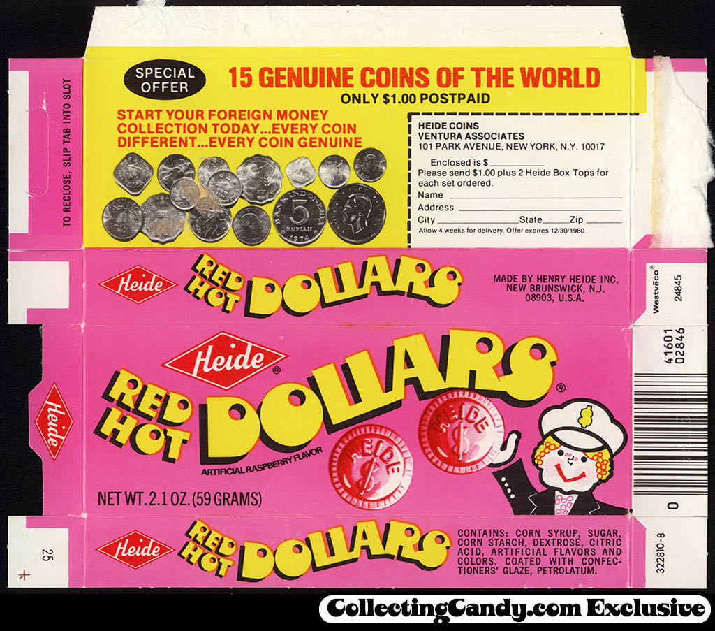 Heide - Red Hot Dollars - Coins of the World offer - candy box - 1980