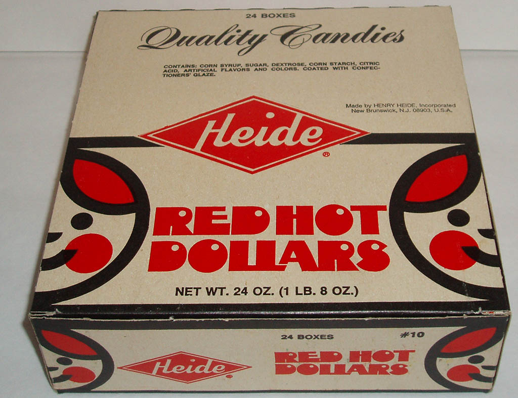 Heide Red Hot Dollars full display box closed - 1970s - Image courtesy Dan Goodsell