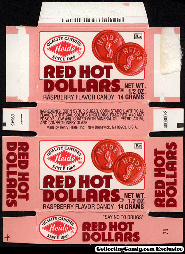 Heide - Red Hot Dollars - fun size candy box - late 80s early 90s