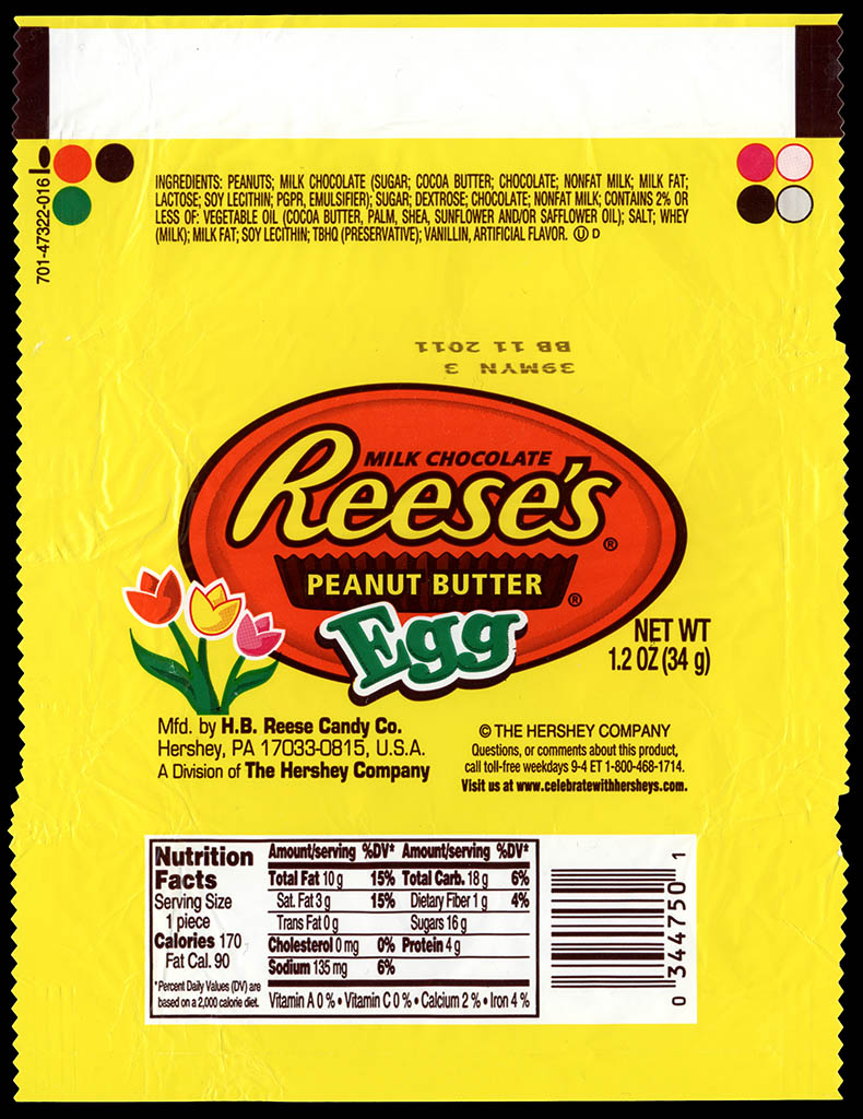 Hershey - Reese's Peanut Butter Egg - Easter candy wrapper - 2011