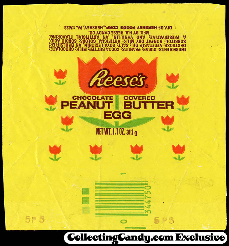Hershey - Reese's - Peanut Butter Egg - Easter candy wrapper - trimmed - circa 1975-1976