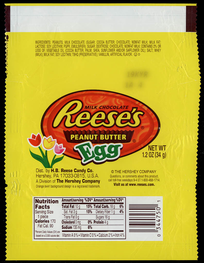 Hershey - Reese's Peanut Butter Egg - swirl background - Easter candy wrapper - 2009