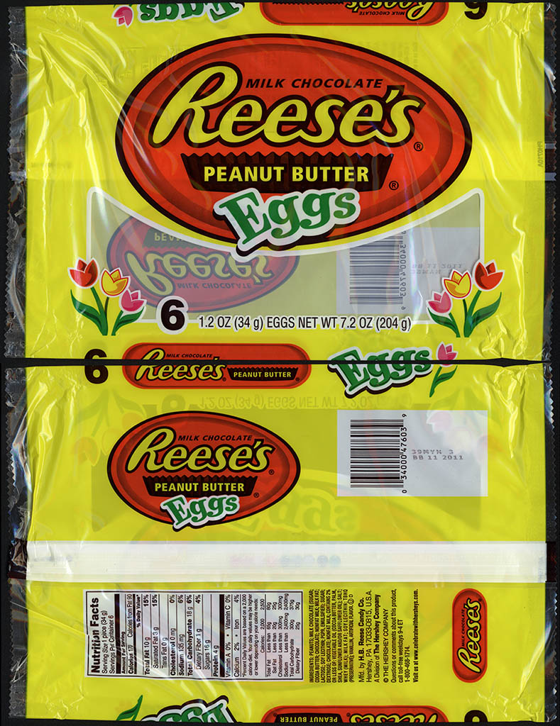 Hershey - Reese's Peanut Butter Eggs - 1.2 oz 6-pack multi Easter candy package - 2011
