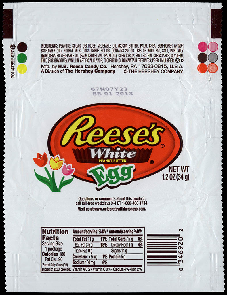 Hershey - Reese's White Peanut Butter Egg - Easter candy wrapper - 2012