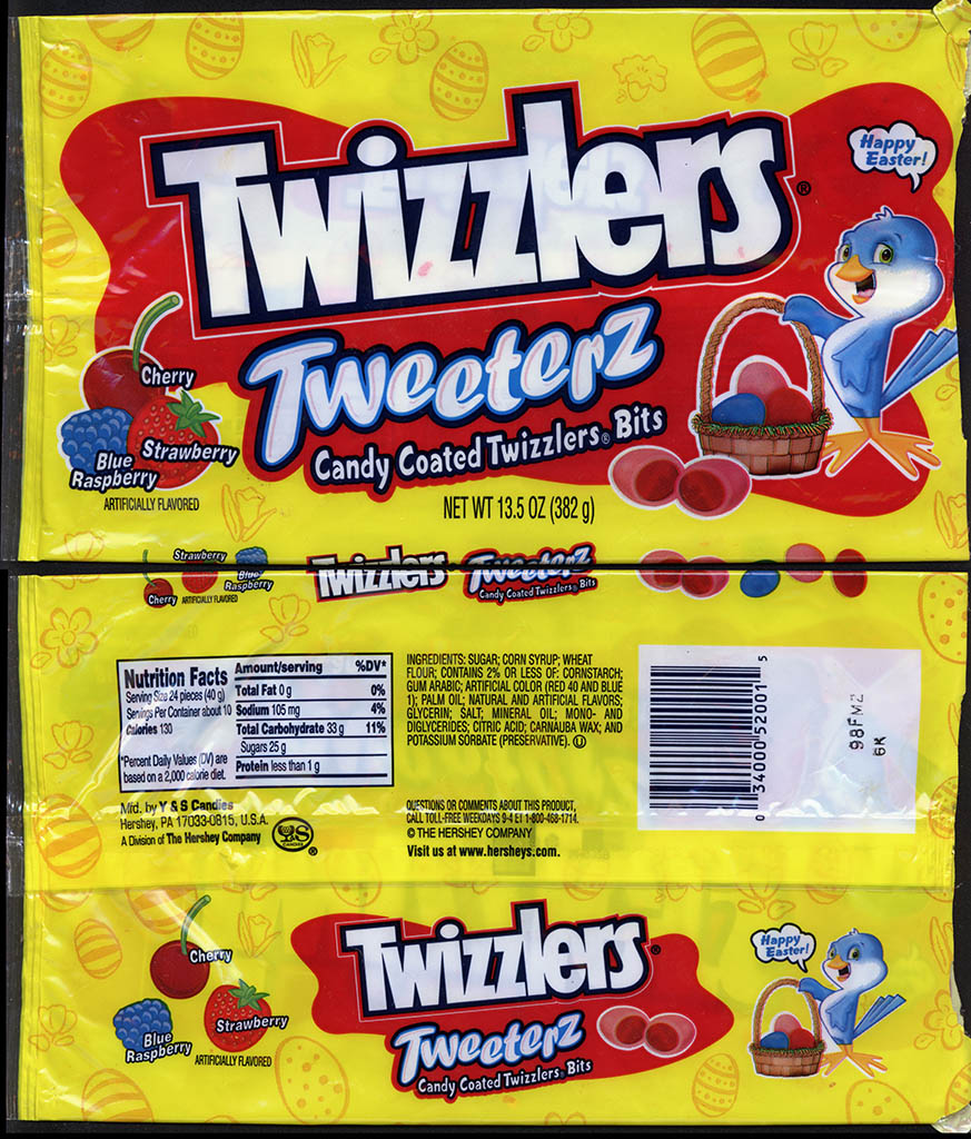 Hershey - Y&S Candies - Twizzlers Tweeters - 13.5 oz Easter candy package - mid-2000s
