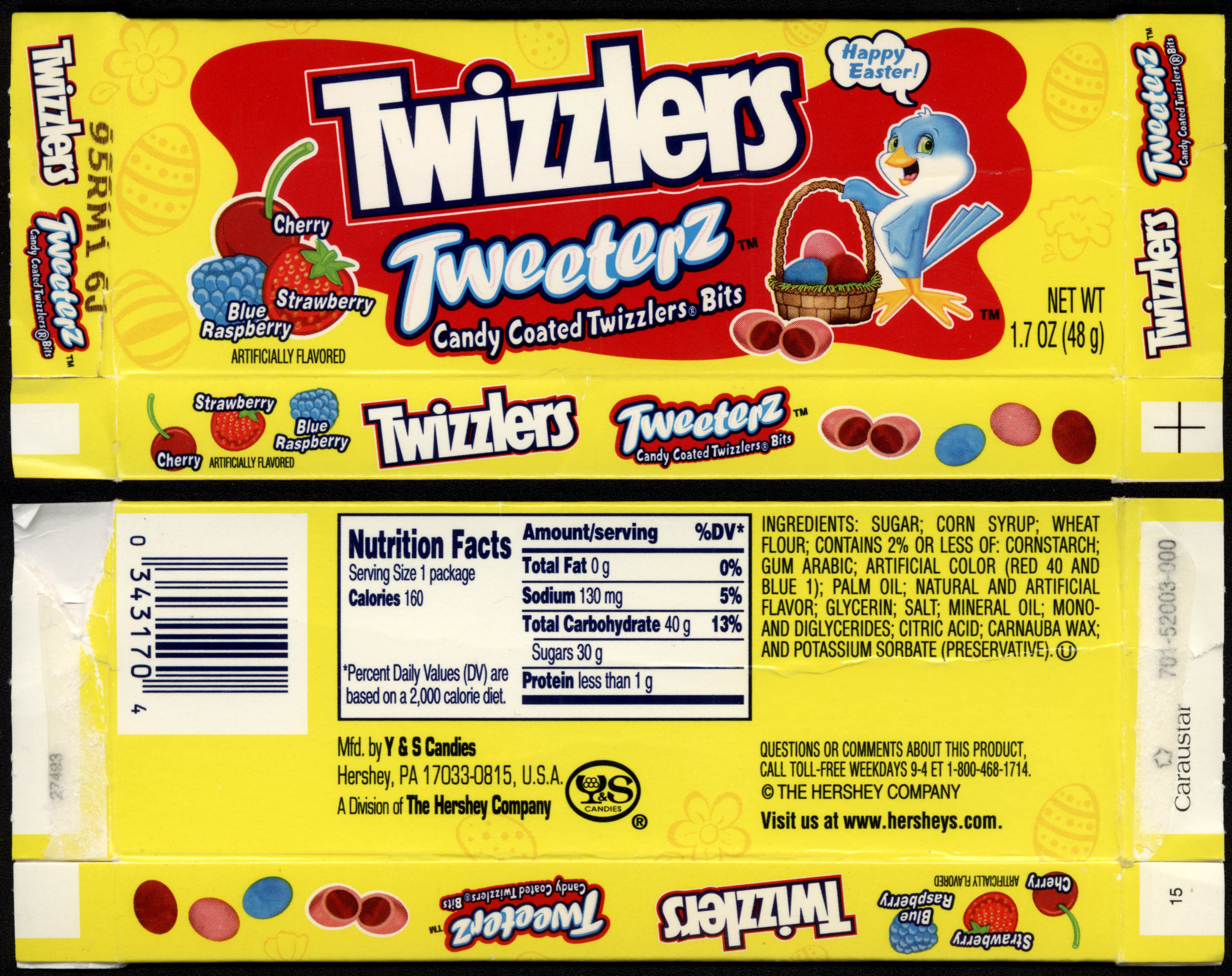 Hershey - Y&S Candies - Twizzlers Tweeters - 1.7oz Easter candy box - mid-2000s