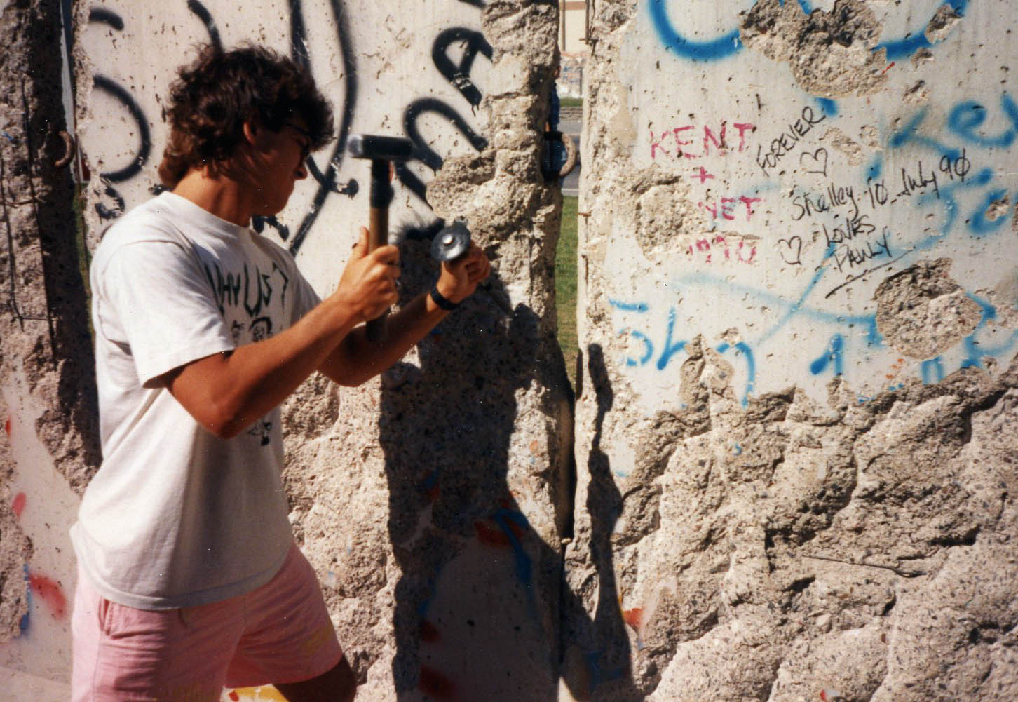 That's me, chiseling away at the Berlin Wall - July 1990.