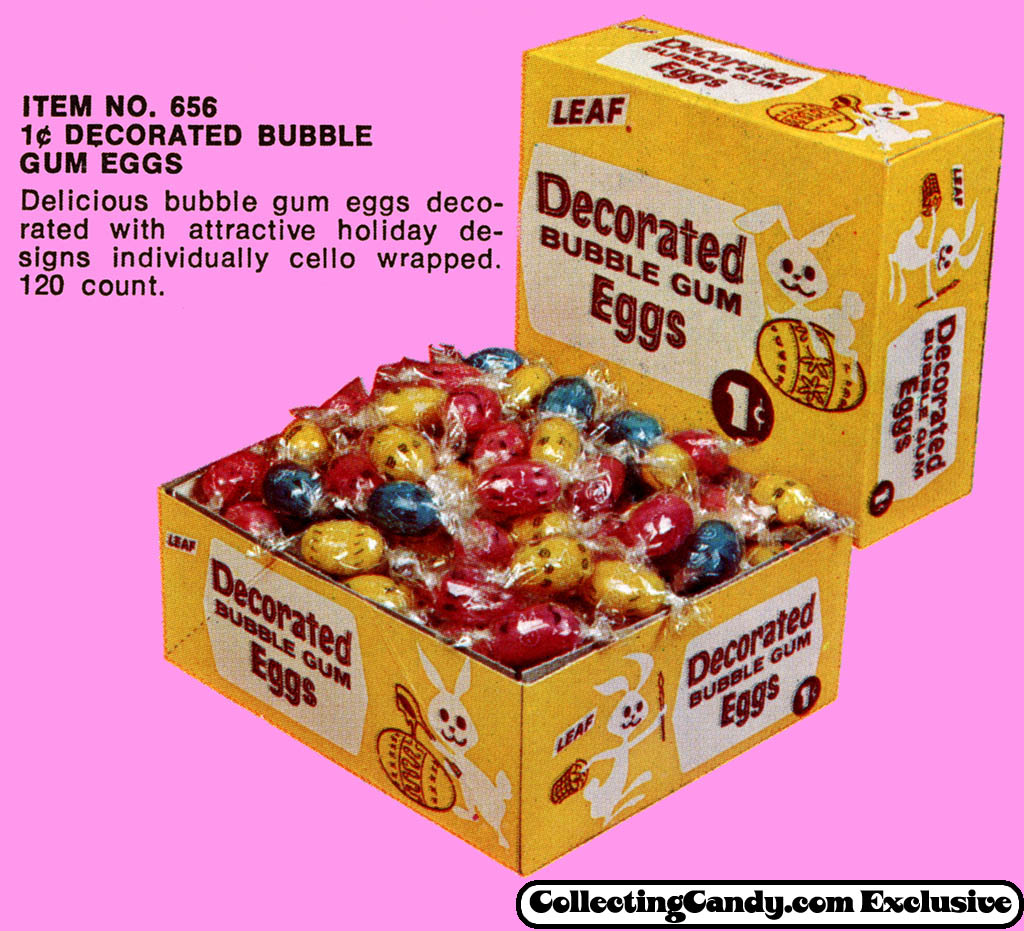 Leaf - 1-cent Decorated Bubble Gum Eggs - close-up - Easter 1971