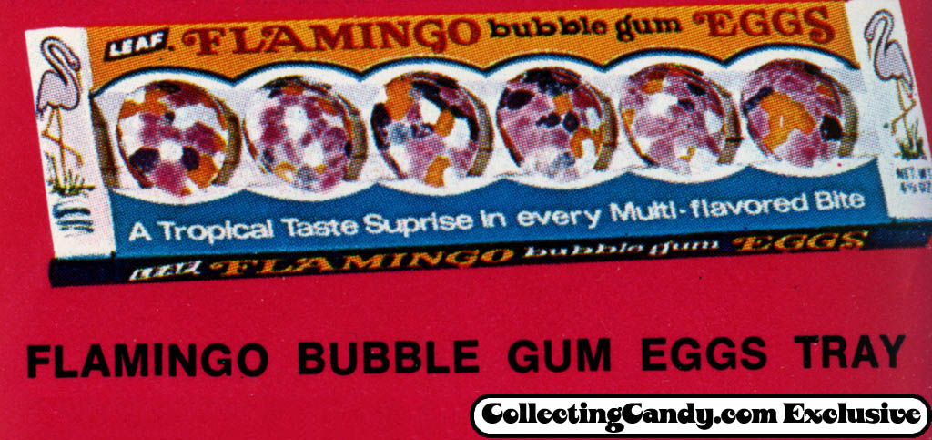 Leaf - Flamingo Bubble Gum Eggs tray - close-up - Easter 1971