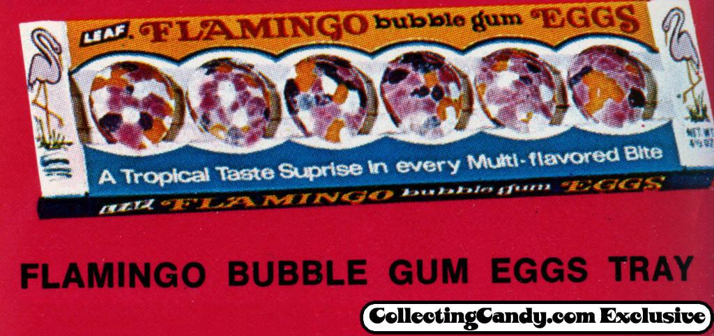 Leaf - Flamingo Bubble Gum Eggs tray - close-up - Easter 1971