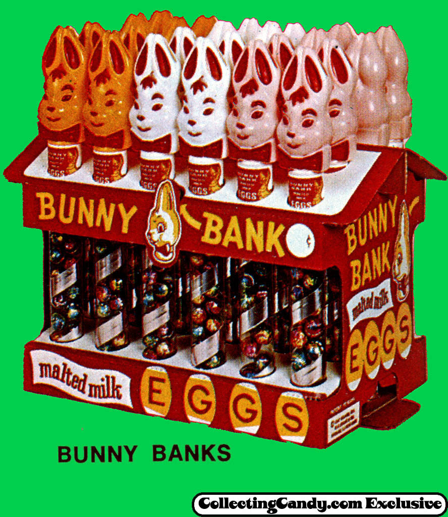 Leaf - Malted Milk Eggs Bunny Bank store display - close-up - Easter 1971