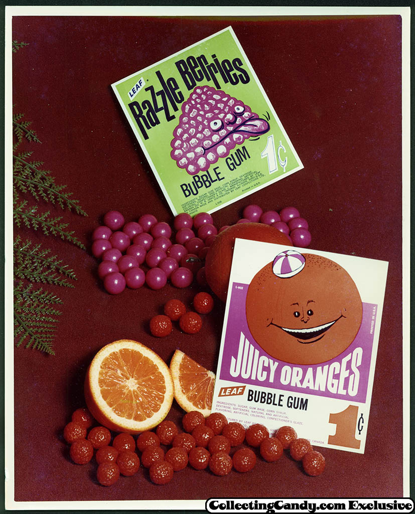 Leaf - vending bubble gum promotional photo - Razzle Berries - Juicy Oranges - early 70's