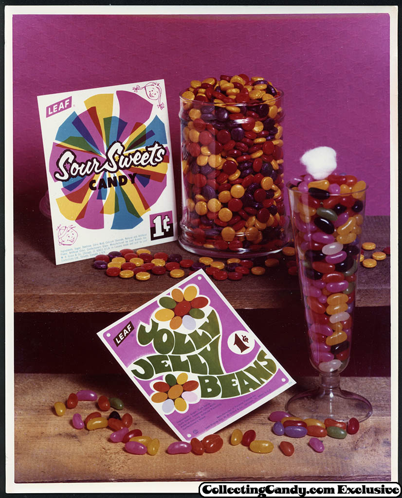 Leaf - vending bubble gum promotional photo - Sour Sweets candy - Jolly Jelly Beans - early 70's