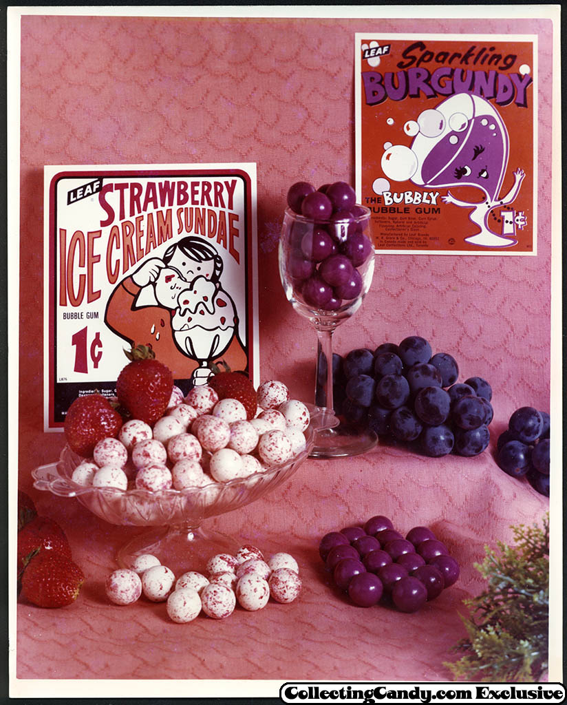 Leaf - vending bubble gum promotional photo - Strawberry Ice Cream Sundae - Sparkling Burgundy - early 70's