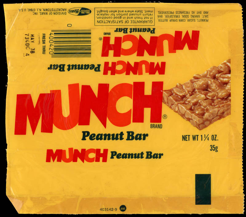 M&M-Mars - Munch peanut bar - candy wrapper - 1977