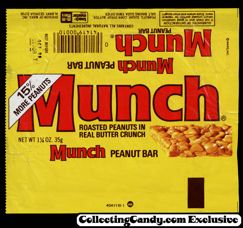 M&M-Mars - Munch peanut bar - candy wrapper - 1979