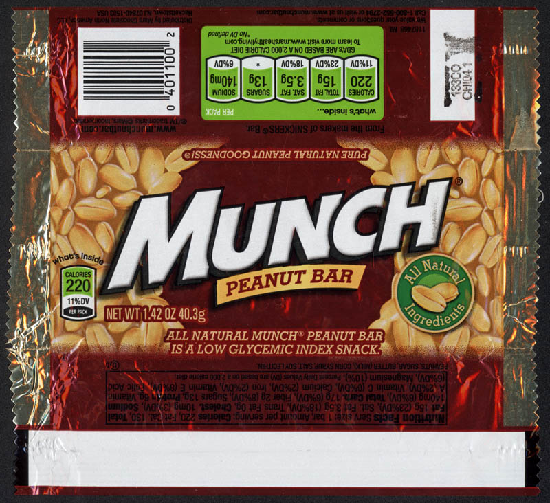 M&M-Mars - Munch peanut bar - candy wrapper - 2012