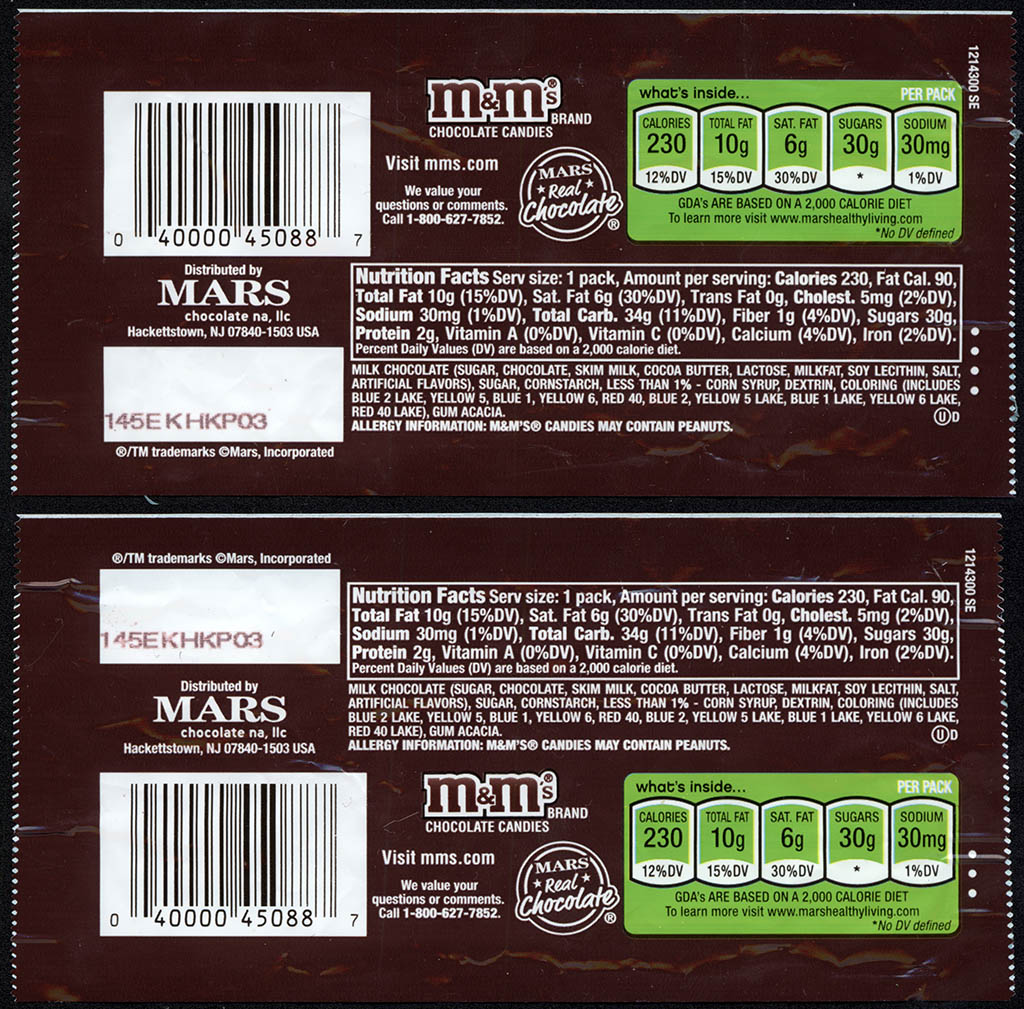 Mars - M&M's Milk Chocolate Easter holiday packs - two different backs - 2012-2013