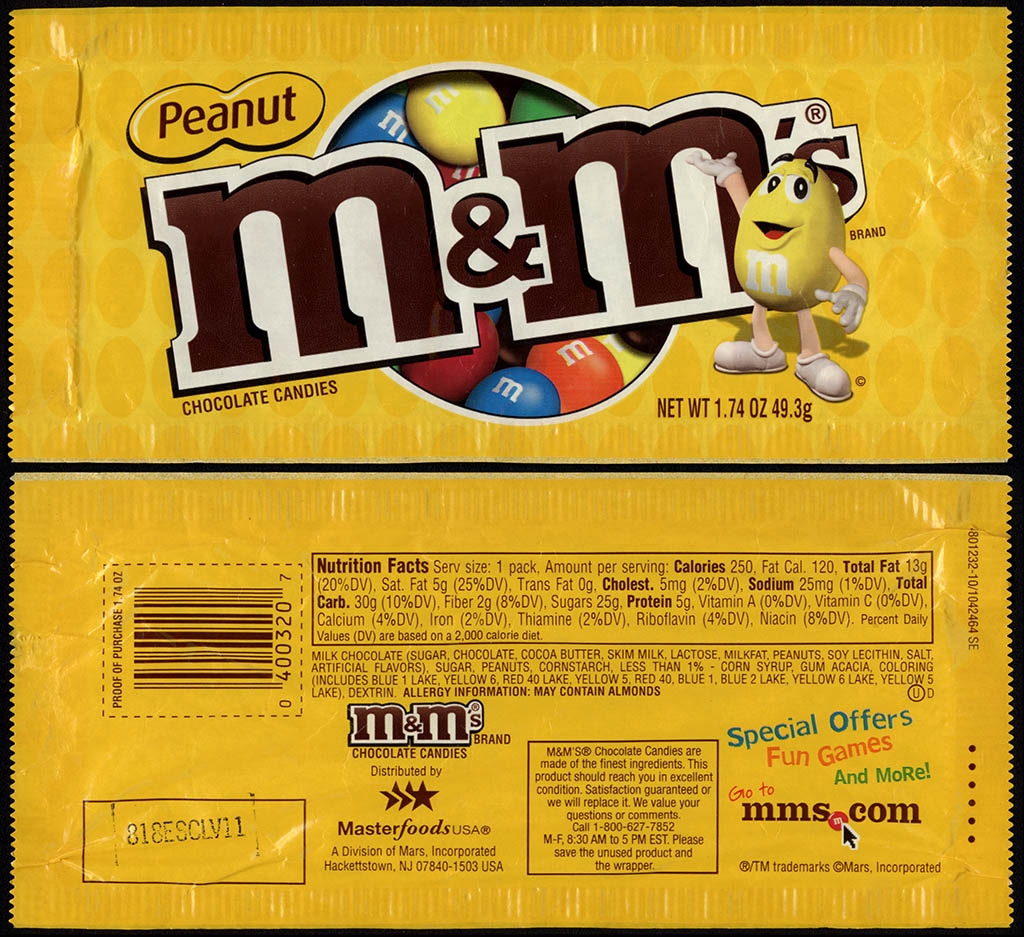 Mars - M&M's Peanut - 1.74oz candy package - 2012