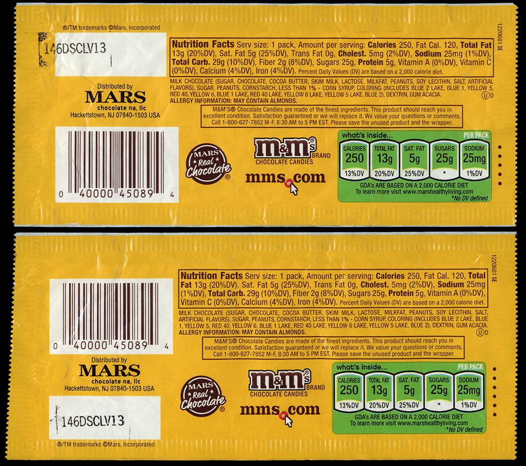 Mars - M&M's Peanut Easter holiday packs - two different backs - 2012-2013