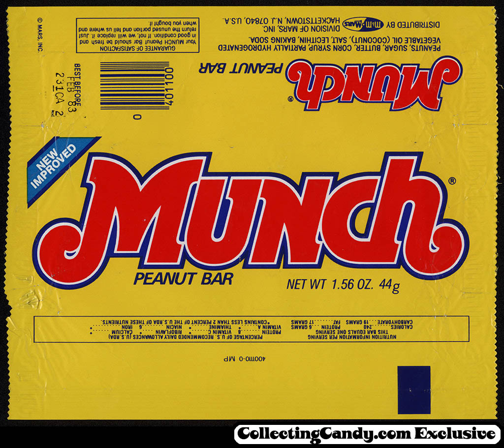 Mars - Munch - New Improved - candy bar wrapper - 1982