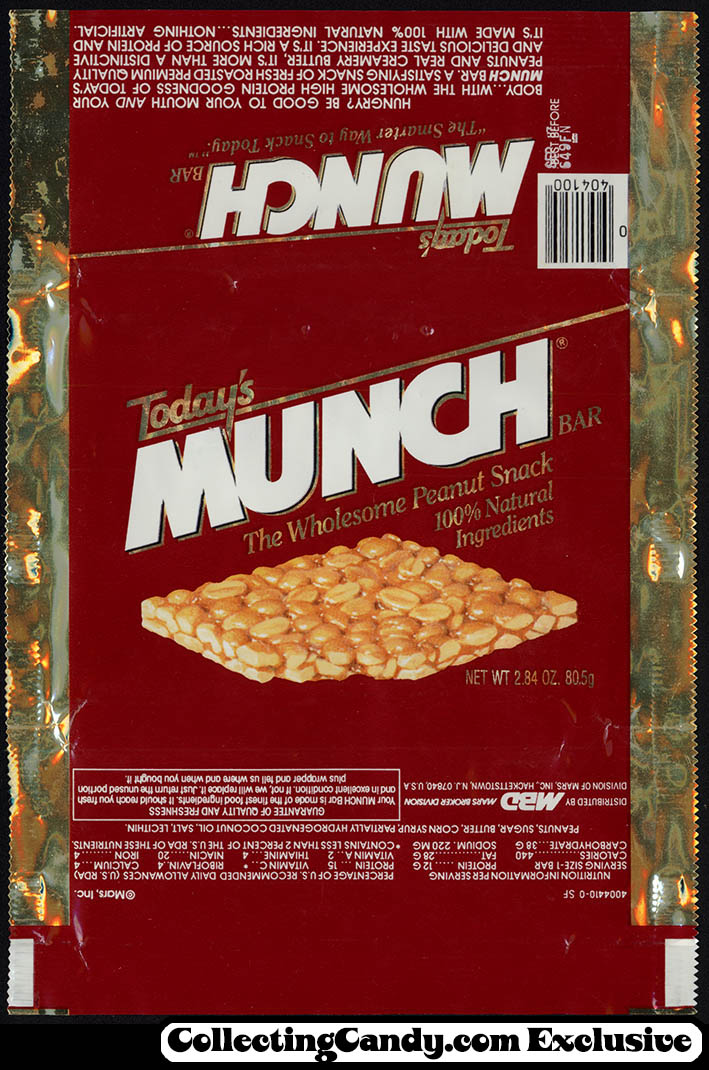 Mars - Munch - Today's Munch bar - candy bar wrapper - 1987