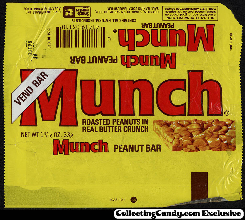 Mars - Snack-Master - Munch - Vend Bar - candy wrapper - 1980