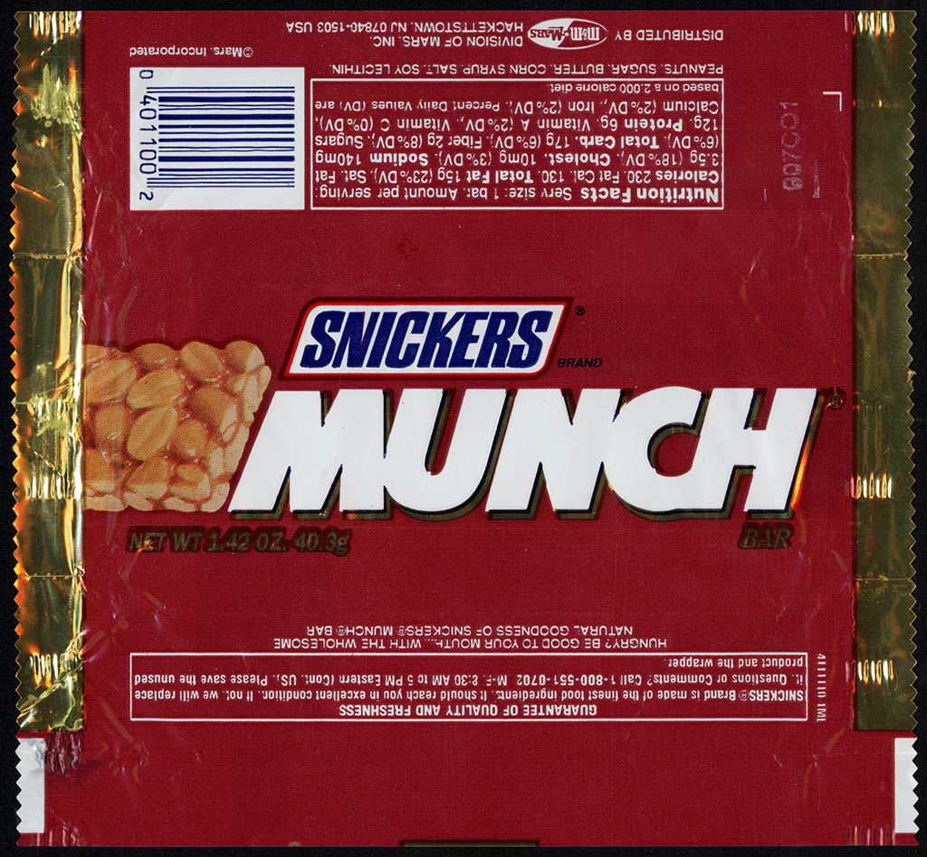 Mars - Snickers Munch bar - candy wrapper - 1996