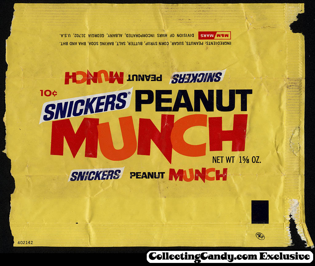 Mars - Snickers Peanut Munch bar - 10-cent candy wrapper - 1971