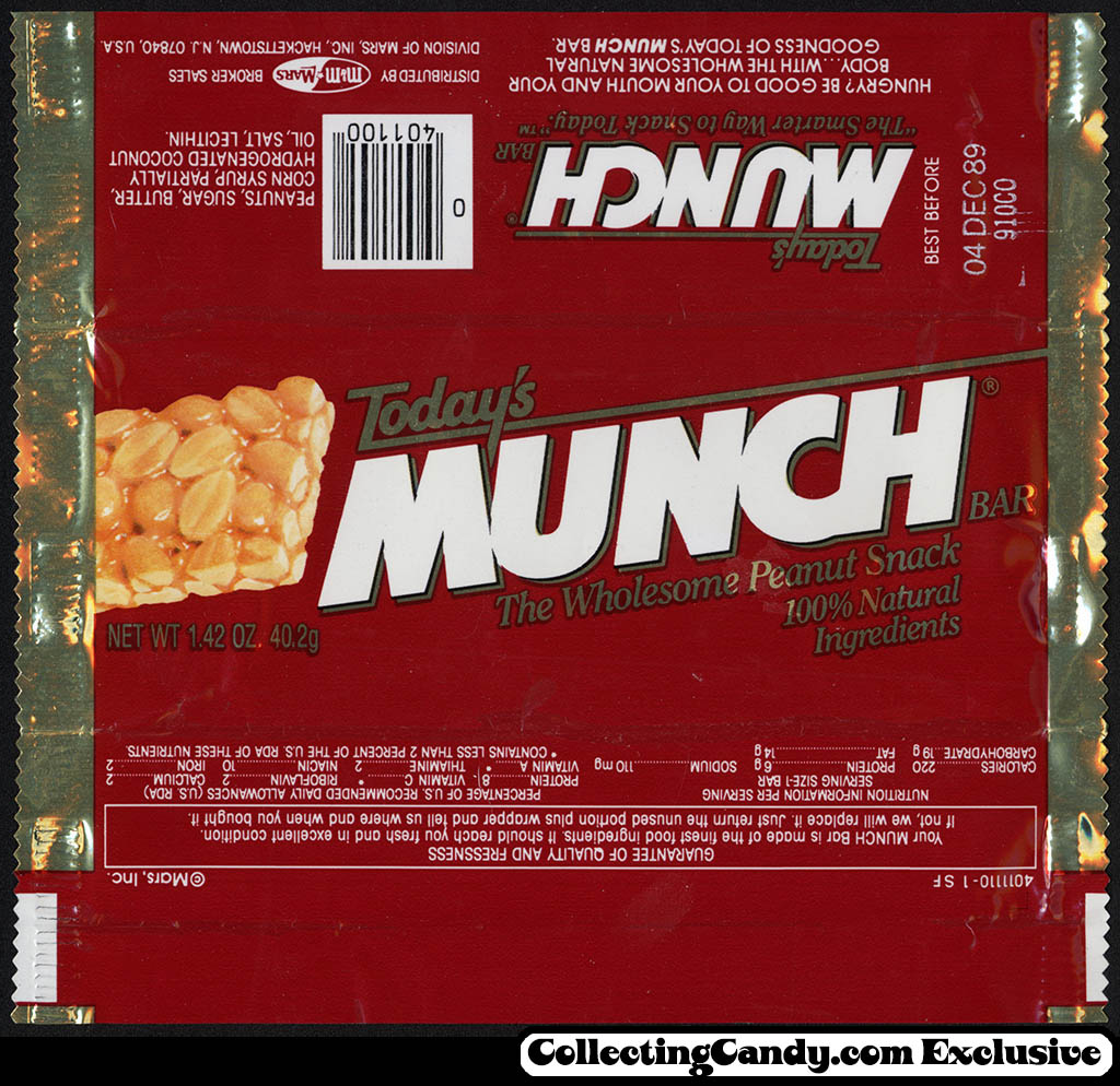 Mars - Today's Munch bar - candy wrapper - 1989