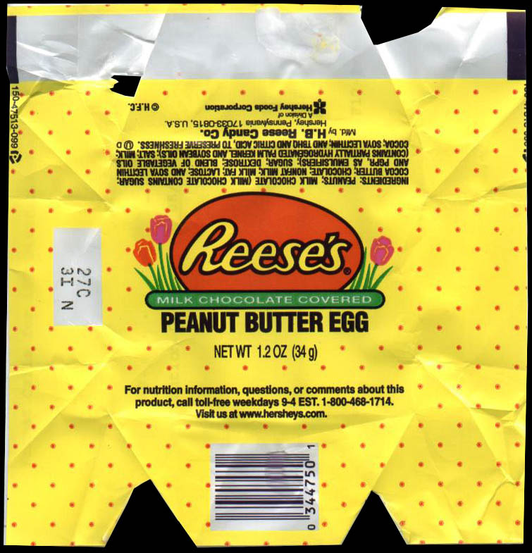 Reese's Peanut Butter Egg Wrapper - 2003 - Image courtesy MikesCandyWrappers.com