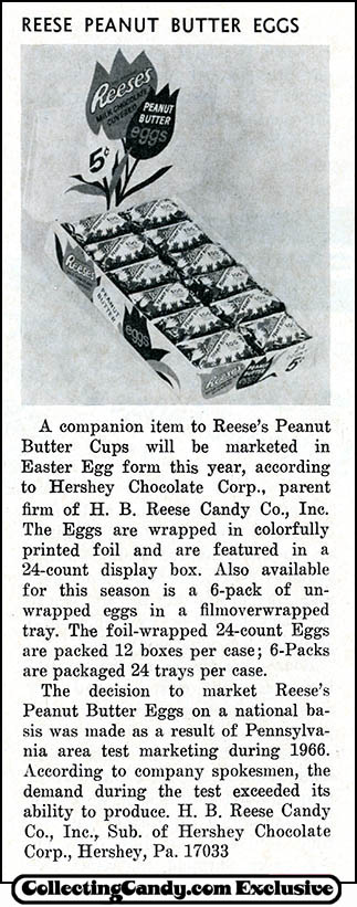 Reese's Peanut Butter Egg trade clipping - February 1967