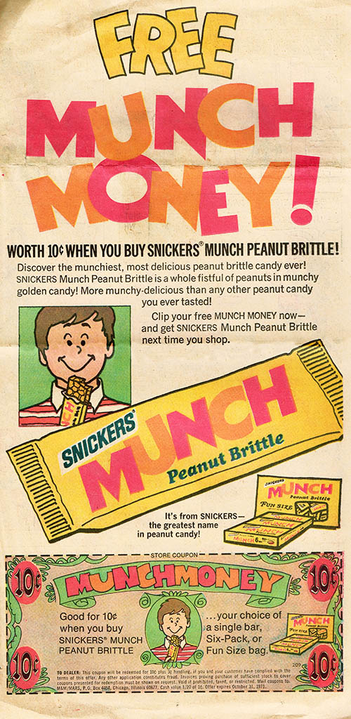 Snickers Munch bar newspaper ad and coupon - early 1970's